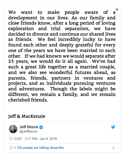 Jeff, MacKenzie Bezos Say They're Divorcing After 25 Years